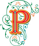 Beautiful ornament, Letter P Royalty Free Stock Image