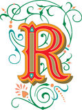 Beautiful ornament, Letter R Royalty Free Stock Images