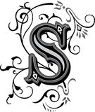 Beautiful ornament, Letter S Stock Photography