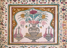 Beautiful ornament on wall of palace in Amber Fort in Jaipur. Rajasthan, India stock photo
