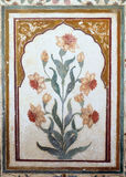 Beautiful ornament on wall of palace in Amber Fort in Jaipur Royalty Free Stock Image