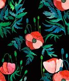 Beautiful ornamental bright pattern of red poppies with leaves and heads on black background watercolor. Beautiful ornamental bright pattern of red poppies with Royalty Free Stock Photography