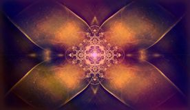 Beautiful ornamental flower fractal with shinig cross ornament Royalty Free Stock Images