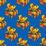 Beautiful ornamental goldfish seamless pattern Stock Photos