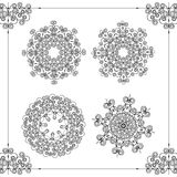 Beautiful ornamental rosettes set. For ethnic or tattoo design. Royalty Free Stock Photography