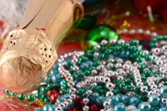 Beautiful ornaments, champagne, pearl and balls Stock Image