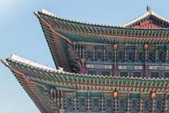 The beautiful ornaments on the colourful roof of the Gyeongbokgung Palace in Seoul Korea royalty free stock photography