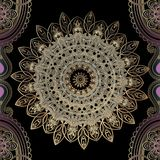 Beautiful ornate gold arabesque vector seamless pattern. Elegance floral arabic style round lace mandala. Ornamental luxury repeat stock illustration