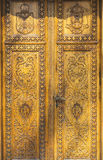 Beautiful ornately carved wooden door Stock Photos