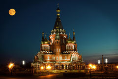 Beautiful Orthodox Cathedral in Russia in the evening. Illuminated by light Royalty Free Stock Image