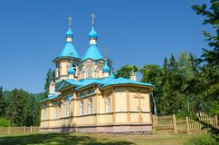 Beautiful Orthodox Church on a clear sunny day on Valaam Island. Gethsemane Skete. Church in the name of the Assumption of the royalty free stock images