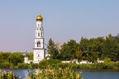 Beautiful Orthodox church on the river bank in the Krasnodar region. Russia stock photo