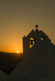 Beautiful orthodox church Saint Antony in Paros island in Greece against the sunset. Royalty Free Stock Photography