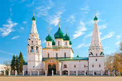 Beautiful Orthodox church in Yaroslavl on square Stock Photo