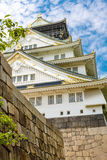 Beautiful Osaka castle in Japan on sunny summer day. Royalty Free Stock Photos