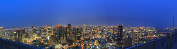The beautiful Osaka night downtown cityscape Stock Photography