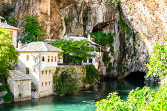 Beautiful ottoman house in Blagaj village on Buna spring stock photo