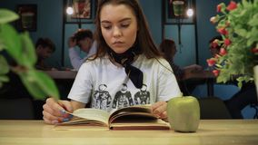 Young serious girl focused on reading a textbook in a coffee house in the background of other visitors. Beautiful oung serious girl focused on reading a textbook stock video
