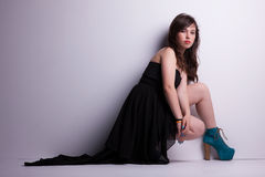 Beautiful oung woman on the floor, Royalty Free Stock Photos
