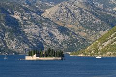Beautiful Our Lady of the Rocks island in the Bay of Kotor Stock Photography