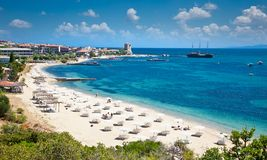 Beautiful Ouranoupolis Sandy Beach On Athos, Greece. Stock Photography