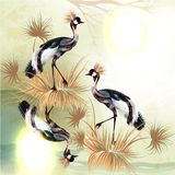 Beautiful outdoor background with birds in Chinese style stock illustration