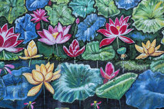 Beautiful outdoor mural of flowers Stock Photo