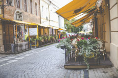 Beautiful outdoor restaurant in Vilnius on beautiful summer day Stock Images