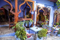 Beautiful outdoor seating,Chefchaouen, Morocco Stock Photo