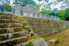 Beautiful outdoor view of Chichen Itza Mayan ruins in Mexico.  Royalty Free Stock Images