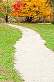 Beautiful outdoors - footpath in autumn park Royalty Free Stock Image