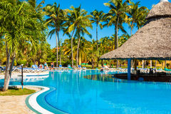 Beautiful outdoors pool at a hotel in Varadero Stock Photo