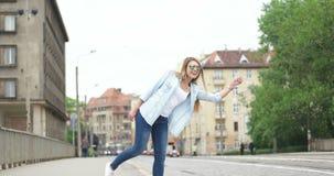 Beautiful outdoors woman model. stock footage