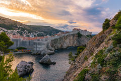 Beautiful Outer Fortress Walls of Dubrovnik Croatia Cityscape De Royalty Free Stock Photos