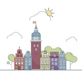 Beautiful outline city landscape. Little colorful town in cartoon style. Vector illustration EPS 10 Stock Images