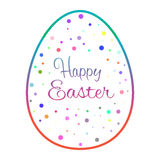 Beautiful outline easter egg with colored dots Stock Photo