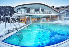 Beautiful outside pool at hotel in Tyrol, Austria Stock Photography