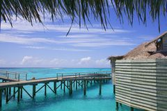 Beautiful Over Water Tropical Bungalow Royalty Free Stock Photography