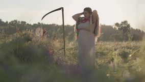 Beautiful overweight woman with a scythe braiding her hair in sunlight on the green summer field. Beautiful landscape. Beautiful Slavic overweight woman with a stock footage