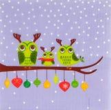 Beautiful owl birds pattern on napkin Stock Photo