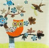 Beautiful owl birds pattern on napkin Stock Photography