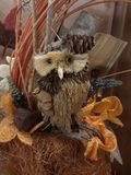 Beautiful OWL ornament table at feast days in your home stock photos