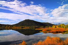 Beautiful Ox Bow lake outside Grand Tetons National park Royalty Free Stock Photo