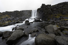 Beautiful Oxararfoss waterfall in Thingvellir national park, western Iceland Royalty Free Stock Photo