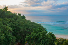 Beautiful Pabang Pabang beach, view from above just before sunset. Bali, Indonesia. Eat, pray, love Julia Roberts. Royalty Free Stock Image