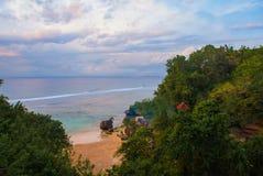 Beautiful Pabang Pabang beach, view from above just before sunset. Bali, Indonesia. Eat, pray, love Julia Roberts. Royalty Free Stock Photography