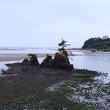 Beautiful Pacific Ocean Beach Beauty. Beautiful scenery of sand, rock formations,  and the ocean at the Siletz Bay at the mouth of Schooner Creek just south of stock photography