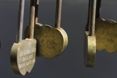 Beautiful Padlock in the shape of a heart love forever saint valentine Until death separates them nice Stock Photos