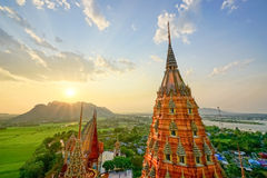 A beautiful pagoda in Thailand. High pagoda in Thailand When the evening sunlight beautifully Royalty Free Stock Image