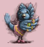 Beautiful painted bird cartoon raster welcome bird. Blue sparrow with costume jewelry and rings Royalty Free Stock Photo